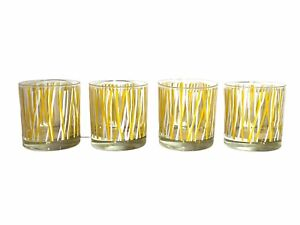 Set 4 Georges Briard Yellow Icicle Lines  Mid Century Low Ball Glasses Barware