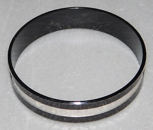 Black Metal Bracelet Silver Faceted Mirrored Striped West Germany Womens