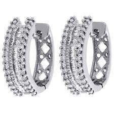 7eaadffa6fc7 10 Quilates Oro Blanco Diamante Baguette 3 Filas Aros Mujer Pendientes  Huggie