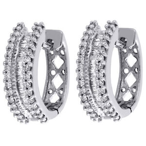 10K White Gold Baguette Diamond 3 Row Hoops Ladies Huggie Earrings 0.50 Ct