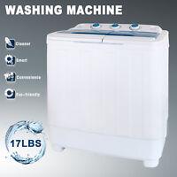 Portable Mini Washing Machine 17LBS Compact Twin Tub Laundry Washer Spin Dryer