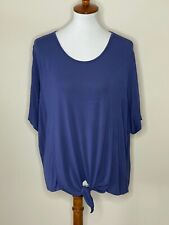 Chico's 2 Blue Tie Knot Short Sleeve Women's Top Shirt Dolman