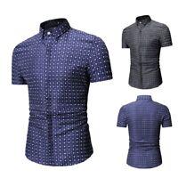 NEW Luxury Men's Spot Casual Shirt Slim Fit Formal Business Dress Shirts Tops