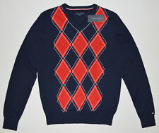 NWT Mens TOMMY HILFIGER Pullover Sweater, Blue, S, Small, 100% Cotton, V-Neck