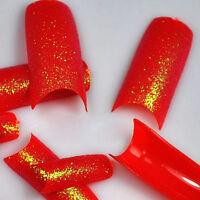 100 Stunning Glitter Super Red False French Nail Art Tips NEW LW