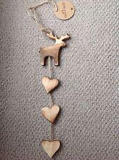 Hanging Christmas Reindeer - wood, hearts, rustic Bnwt