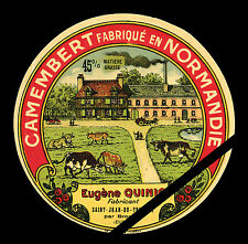 French Cheese Label: Original Vintage Camembert En Normandie - Eugene Quinio