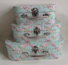 shabby chic vintage retro set of 3 storage cases blue floral pink rose stackable