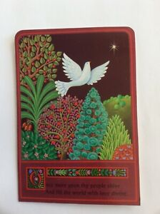 Vtg Hallmark The Heavenly Kingdom Christmas Card Peace Dove; Maroon, Green