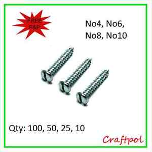 Self Tapping Screws, Slotted Pan Head - Zinc Plated -  choice of length & qty
