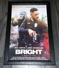 """BRIGHT PP SIGNED & FRAMED A4 12X8"""" PHOTO POSTER AUTOGRAPHED WILL SMITH"""