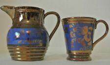 19th Century Copper Lustre Blue Floral Band Creamer JUG & CUP Mug Lusterware