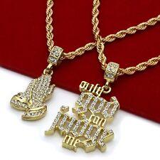 "14k Gold Plated Cz O.G.C.J.M. & Prayer Hand Hip Hop Pendant 24"" & 30"" Rope Chain"