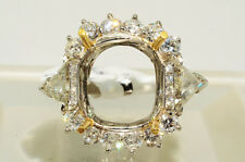 $29,590 3.01Ct Trillion & Round Cut Diamond Ring Mounting Platinum & 18K VS