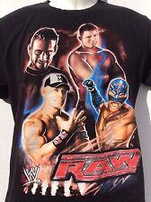 WWE RAW WWF WCW black t shirt  John Cena Plus 3 more YOUTH SIZE L large