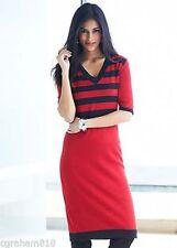 V-Neck Work Striped Dresses for Women