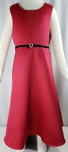 Emily West Girls Dress Red Formal Size 10 M Holiday Matte Satin Black Rhinestone