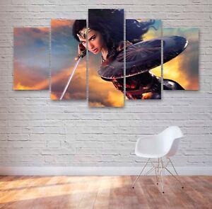 Wonder Woman Movie 5 Panel Canvas, Wall Art, Picture, Painting, Print #154