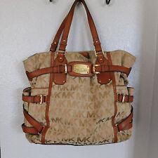MICHAEL KORS Gansevoort Large Tote Khaki Jacquard & Light Brown Leather