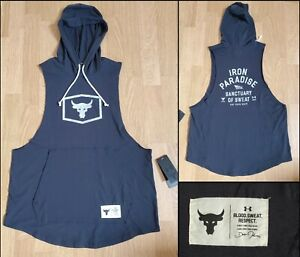 Under Armour Project Rock Black Sleeveless Hoodie Top 1347260 Men's Size Large