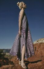 NEW Anthropologie One September Purple double Layer Swing Maxi Dress Petite XS