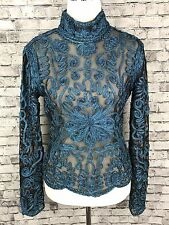 Cache Womens Evening Top Size Lg ~ Black Sheer Blue Sparkle Formal Long Sleeve