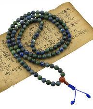 Collier mala tibetain perles Azurite Chrysocolle Ø 8mm Bleu vert  25622 - CA18