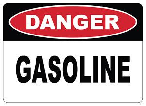 OSHA DANGER: GASOLINE| Adhesive Vinyl Sign Decal