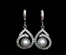 14K Solid White Gold Lab Diamond Tear Drop Pearl Ball Dangle Huggie Earrings