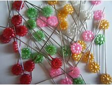 Flower Head Pins pack of 50 great for quilters, heat resistant, long and sharp