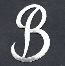 "SCRIPT LETTERS - WHITE SCRIPT LETTER  ""B"" - Iron On Embroidered Applique"