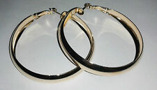 hoop earrings in a shiny 2 inch dangle style gold colour metal new