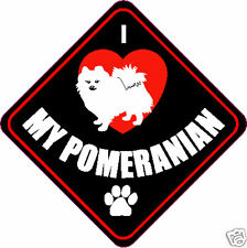 "I LOVE (HEART) MY POMERANIAN DOG 4"" STICKER"