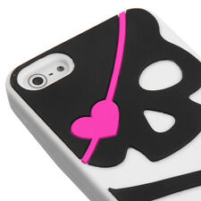 Apple iPhone 5 5S SE Rubber SILICONE Soft Gel Skin Case Cover White Black Skull