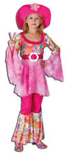 Girls 60s 70s Hippie Pink Fancy Dress Costume Outfit & Flower Hat NEW S M L