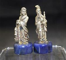 Italian Pair of Chinese 800 Silver-Gilt Figures Lapis Lazuli Base 20th century
