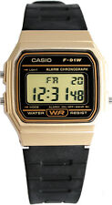 Casio F91WM-9A Digital Watch 7 Year Battery Gold Black Microlight Classic New