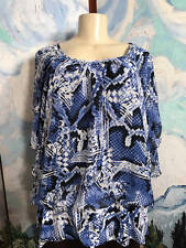STYLE&CO. PLUS 3X BLUE PRINT ROUND NECK LAYER RUFFLED BUTTERFLY SLEEVE TUNIC TOP