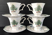 Nikko Christmastime Cup And Saucer 4 Sets Octagonal Christmas Tree Pattern