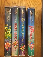 Rare - Lot Of 4 Walt Disney Black Diamond The Classic Vhs Robin Hood Fox Hound