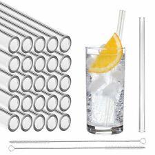 STRAWGRACE® Glas-Strohhalme, handgefertigt, gerade - 25 Stück 20 cm, 2 Bürsten