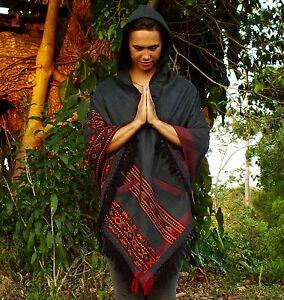 Poncho Handmade Grey YAK wool with Big Hood, Embroidery Tribal Pattern AJJAYA
