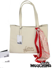 NEWT AUTH LOVE MOSCHINO BEAUTIFUL IVORY  W FOULARD TOTE SHOULDER BAG
