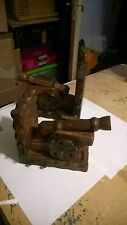 """Large Pair of wooden BOOK ENDS with canons 8"""" by 6.5"""""""