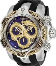 Invicta Reserve Mens 52mm Venom Dragon Swiss Yellow-Gold Blue Dial Strap Watch
