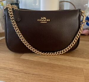 •COACH maroon Leather Nolita Wristlet Clutch New