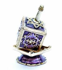 Decor Enameled Jeweled Dreidel & Display Chanukah Hanukkah Sevivon top.purple