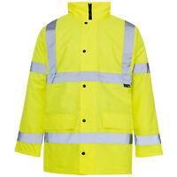 Hi Viz High Visibility Waterproof Bomber Safety Work Yellow Orange Jacket Coat