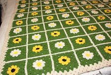 "Handmade Granny Square Afghan Yellow White Daisies 46"" X 57"" Blanket Throw"