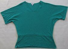 Fashion Bug Women's 100% Acrylic S/S V-Neck Sweater Blouse - Bright Teal - OX